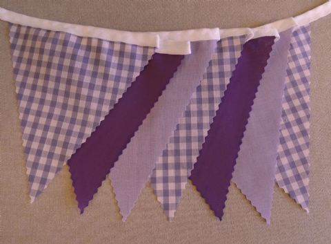BUNTING Plain Purple & Lilac with Lilac Gingham - 3m/10ft or 5m/16ft
